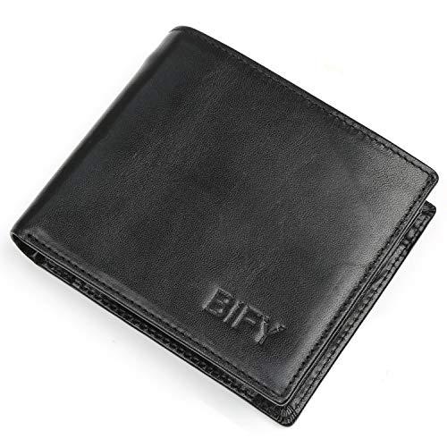 BIFY Brieftasche,Portmonee, Herren-Leder-Geldbörse, Herren-Multifunktions-Geldbörse, Münze Geldbörse, RFID Anti-Sterilisator, Anti-Diebstahl-Pinsel Handtasche, schwarz