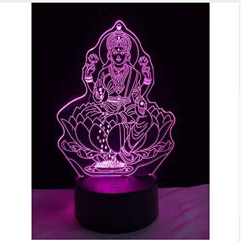 3d popolare figura a quattro mani enorme buddha lampada sorridente seduto su enorme fiore di loto notte regali luce illusione casa cor