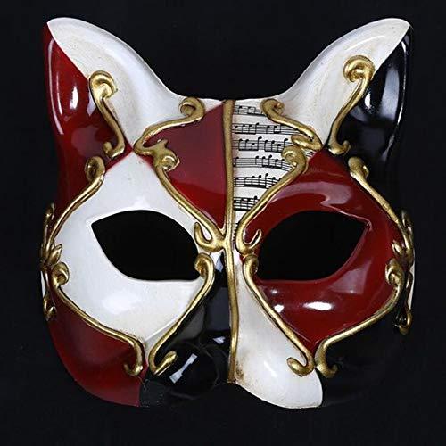 TWELVEMJ Kinderparty Maske Venedig Kätzchen Kinder Halbgesichtsmaske Weihnachtsparty Halloween Maske, Burgund