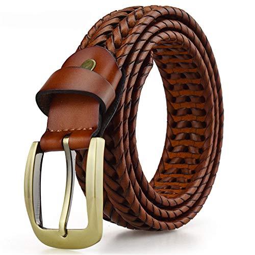 Availcx Cinturón trenzado para hombre Cinturones tejidos Lujo genuino correas de cuero tejidas a mano hombres del diseñador para los pantalones vaqueros masculinos