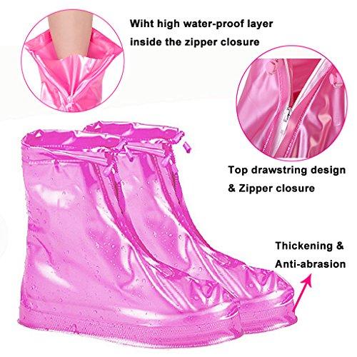 Eagsouni® 1Paar Regenüberschuhe Wasserdicht Schuhe Abdeckung Stiefel Flache Regen Überschuhe Regenkombi Schuhüberzieher Rutschfestem für Damen Mädchen Herren Jungen Rosa