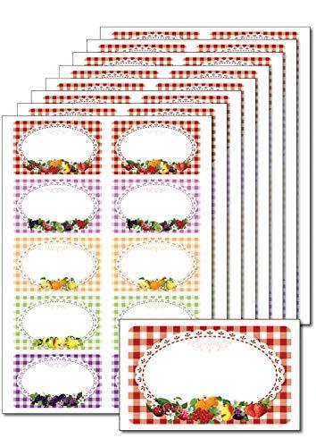 f39a46987b73 Burmeister Handels OHG 80 Etichette  frutta Quadretti Colorati  Stampabile  Etichetta