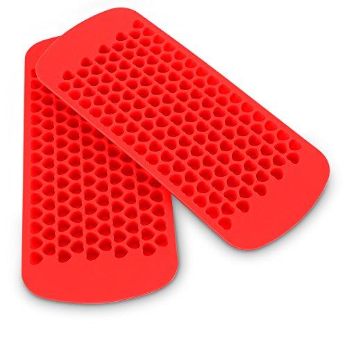 Belmalia 2X Herz-Eiswürfelform Silikon, 2X 150 Mini Herz-Eiswürfel, 24 x 11 x 1 cm Rot