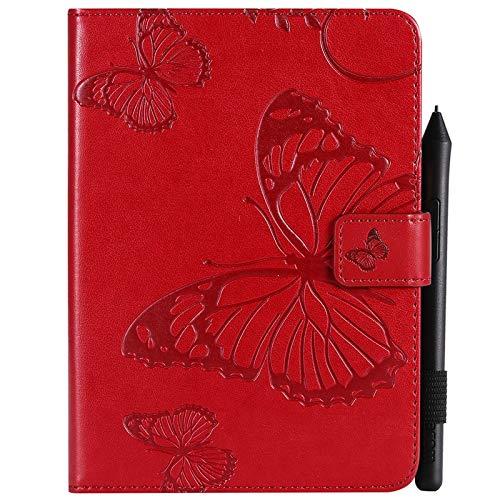 JUFENGYAO Schmetterlings-Blumen-Blumenmuster PU-Leder-Mappen-Stand-Tablette-Kasten für Amazonas Kindle Paperwhite 4 (10. Generation-2018) 6,0 Zoll Tablethülle (Farbe : Rot) (10 Leder-tabletten-kasten)