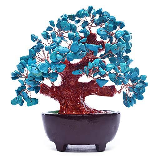 HapiLeap - Árbol de Dinero de Cristal Verde Natural con Piedra de Cuarzo aventurina Feng Shui de 6 Pulgadas para Oficina, Sala de Estar, decoración de Buena Suerte, Turquesa