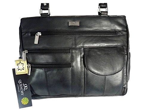 Damen Leder Handtasche Weichem Schwarzem Leder - Umhängetasche 2 Griffen - 8 Taschen - 2 Große Reißverschluss Hauptabschnitte - Mittlere Praktische Größe - Damen Handtaschen von Quenchy London QL173 (Zwei Reißverschluss Leder)