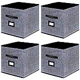 homyfort Lot de 4 Boîtes/Tiroirs en Tissu Cube de Rangement Pliable Coffre pour Linge, Jouets, Vêtement avec poignées en Cuir et Etiquettes, 33 x 33 x 33 cm, Noir Tissu en Lin XABL04PLP