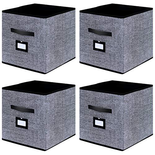 Homyfort set di 4 scatola di immagazzinaggio stoccaggio contenitore pieghevole con pelle maniglia, non tessuto per biancheria 33 x 33 x 33 cm, nero, xabl04plp