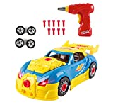 Take-A-Part Toy Race Car,Crossrace Build Your Own Car Kit Take Apart Educational Construction Toys for Kids Children with Drill Realistic Lights and Sounds