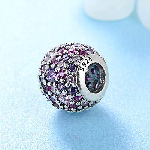 Yzhuzhimy perlina argento sterling 925 delicato viola zircone rosa tondo accessori fai da te perline misura originale braccialetto di fascino creazione di gioielli