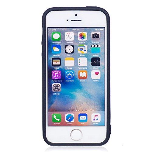 iPhone 5/5S Coque, Voguecase TPU avec Absorption de Choc, Etui Silicone Souple, Légère / Ajustement Parfait Coque Shell Housse Cover pour Apple iPhone 5 5G 5S SE (tapis vert 03)+ Gratuit stylet l'écra magnolia/rose