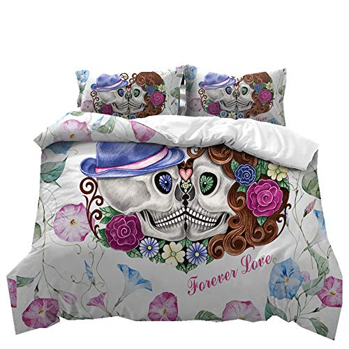 Stillshine Bettwäsche Set 3D Schädel Hochzeit Paar Bettbezug und Kissenbezug 100% Polyesterfaser (Den Schädel küssen, 200 x 200 cm)