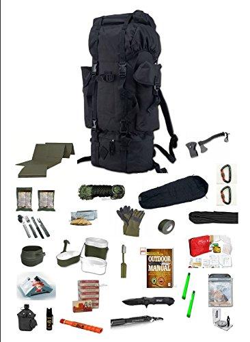 48 h Fluchtrucksack / Prepper Rucksack / Krisenvorsorge / Not-Überlebensrucksack / Biwak / 30 Teilig (Zombie Kit)