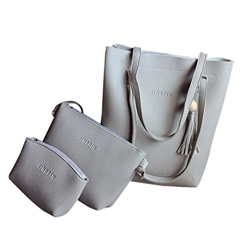 Borse Donna , feiXIANG 2017 Moda donna nappa borsa in pelle borsa a tracolla + crossbody bag + pochette Wallet (rosso) grigio