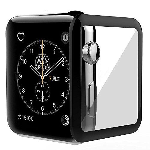 KONKY Displayschutz Schutzfolie für Apple Watch 42mm, Ultra Dünn Vollbildschirm Schutz Wasserdicht Panzerglas Protector mit 3D-Curved & High Definition für Apple Watch Series 1 & Series 2 & Series 3 42mm, Schwarz