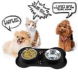 iado Fressnapf für Hund und Katze, 2 x 350ml Doppel Futternäpfe mit Rutschfesten Silikon Tablett zu Meisten Haustier Geeignet