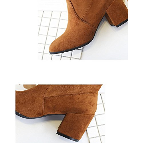 donne tacchi alti stivali lunghi sopra il ginocchio in pelle spessa peluche caldo scarpe allacciatura, BLACK-39 BROWN-35