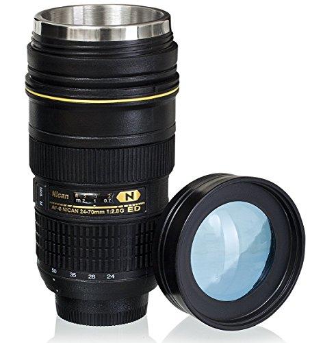 Wrcibor Kamera-Kaffeetasse Camera Lens Mug Reisebecher Geschenk für Fotografen, 1: 1 Kamera 24-70 mm F2.8G Kameraobjektiv Becher Kaffee Tasse, 15oz - Transparenter Deckel (Tasse 1 Becher)