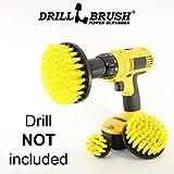 Drillbrush Nuovo cambio rapido del pozzo 3 Pack Media Giallo Grout, mattonelle, box doccia e binario della porta, per tutti gli usi Bagno Spazzole giallo