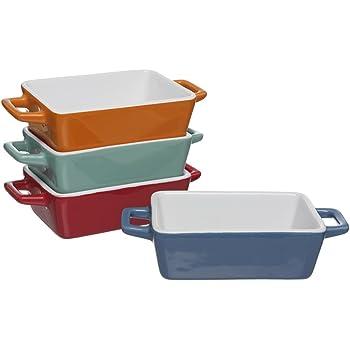 Lot de 4 mini plats de cuisson colorés en grès Invero® - Rectangulaires - Idéals pour les lasagnes, les tartes, les tapas et autres