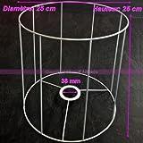 Gestell weißer für Runder Lampenschirm, Höhe und Diam. 25cm, Diam. Stecknuss 38mm