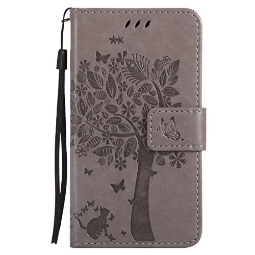 Microsoft Lumia 550 Hülle, Chreey Prägung [Katze Baum] Muster PU Leder Hülle Flip Case Wallet...