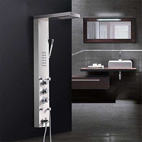 NIHE-Duschpaneel Wasserfall Regen Duscharmaturen Nickel gebürstet, Thermostat Dusche Panel mit Hand Dusche Wanne Spout Tower Duschpaneel