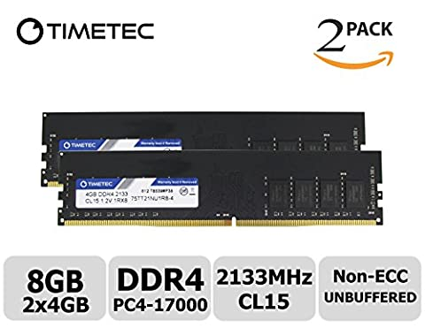 Timetec Hynix IC 8GB Kit (2x4GB) DDR4 2133MHz PC4-17000 Unbuffered Non-ECC 1.2V CL15 1R8 Single Rank 288 Pin UDIMM Desktop Memory Ram Module Upgrade (8GB Kit