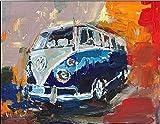 Rahmen-Kunst Keilrahmen-Bild - A.V.Art: Dark Blue Campervan Leinwandbild VW Bully T1 Oldtimer Sixties (40x50)