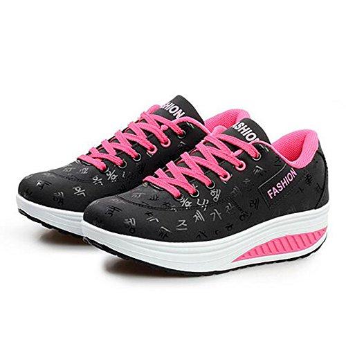 Chaussures de Sport Pour Femmes Lace Up Fonctionnement Sneaker Noir