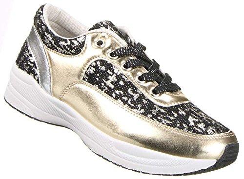 Damen Schuhe Sportschuhe Freizeitschuhe Schürschuhe Turnschuhe Sneaker , Weitere Farben: Schwarz Gold Rosa Gold Rot, Weitere Größen: 36 37 38 39 40 41 Schwarz