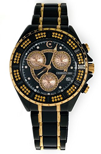 Cerruti 1881 Diamond Lady Chronograph Watch 36mm with Real Diamonds Black and Rose Gold, Ceramic Bracelet, Swiss Made