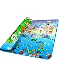 Kinder Spielteppich Spielmatte Baby Spielteppich Puzzlematte Baby-kriechende Auflage Schaumstoffteppich für den Innen- und Außenbereich, Spiel-Matten-Ozean-Muster(200 x 180 CM)
