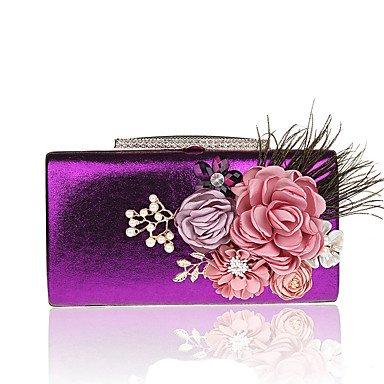 Woman Fashion Blumen Abendessen Abend Tasche Purple