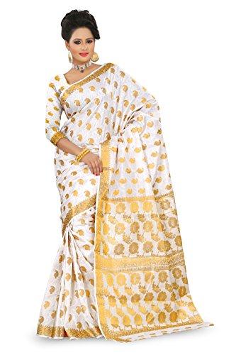 Mimosa Women Kanchipuram Art Silk Saree with Blouse (3010-103-White, White)