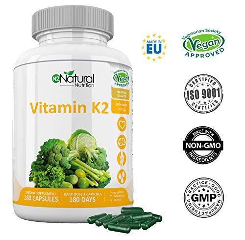 Vitamina K2 MK7. Suplemento Natural . Protege Corazón, Cerebro. Huesos Fuertes. 180 Cápsulas de Clorofila 200mg. VEGANO. Dosis: 1 al día. CE. N2 Natural Nutrition