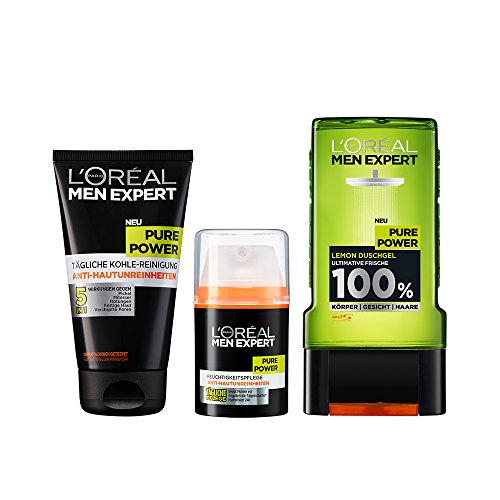 L'Oréal Men Expert Pure Power Reinigungsgel + Men Expert Pure Power Feuchtigkeitscreme + Men Expert Duschgel Pure Power