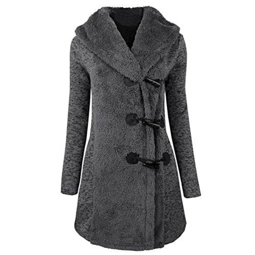 Kleidung Mäntel Damen Sunday Mode Warme Winter Plus Dicke Warme Solide Knöpfe Parka Lange Hoodie Outwear (Grau, 2XL) (Knopf Asymmetrische)