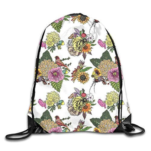Ejjheadband Botanical Duvet Cover Set Twin Size, Roses Dahlia Hibiscus With Leaves And Sunflowers Tropical Nature Composition, Sport Yoga bag -