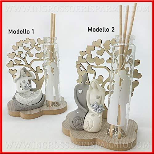 Profumatore d'ambienti con sposi in resina stilizzati, albero della vita e provetta porta profumo, in 2 modelli, bomboniere nozze 2019, con scatola regalo inclusa (modello 1-con confezione tiffany)