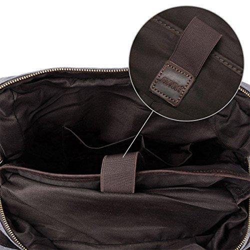 S-ZONE Updated Doppelte Rei?Verschluss Version Segeltuch Leder Canvas Vintage-Stil Unisex Junge Reisetasche Wandertasche 15 inch Laptop Ruc...