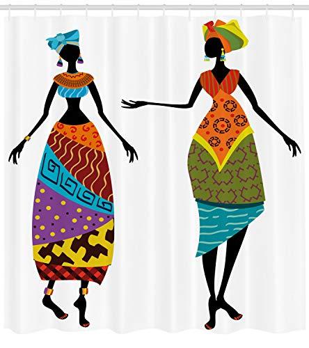 Kostüm Themen Stammes - ABAKUHAUS afrikanische Frau Duschvorhang, Stammes-Kostüme, mit 12 Ringe Set Wasserdicht Stielvoll Modern Farbfest und Schimmel Resistent, 175x200 cm, Mehrfarbig