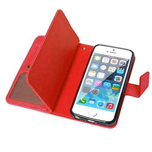 Etsue für iPhone SE/iPhone 5S Rose Rot Leder Schutzhülle Case, 9 Kartenfächern Retro Vintage Premium Wallet Book Stil Hülle Flip Case Magnetverschluss Standfunktion Ledertasche Case Tasche Silikon Bac Rot