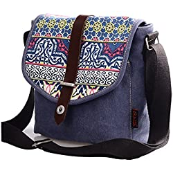 Douguyan - Bolsos Etnicos Bandolera de Lona y PU Cuero el diseño de Moda para Mujer E00156 Azul