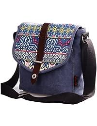 Douguyan - Bolso Bandolera de Lona y PU cuero el diseño de moda para Mujer E00156