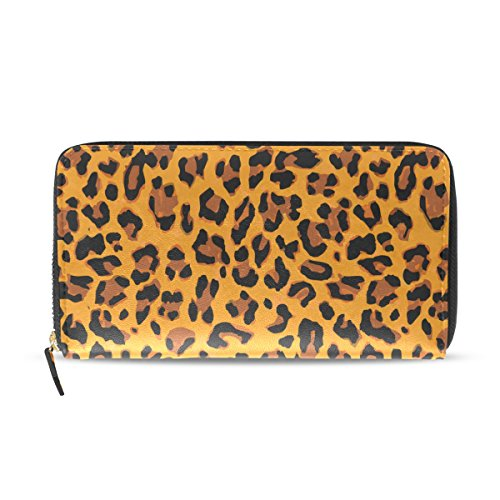Ahomy - Cartera de Piel para Mujer, diseño de Leopardo, con Bolsillo con Cremallera