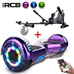 RCB Hoverboard Electric Scooter Self-Balancing Scooter with Hoverkart Go-Kart Built in LED lights Bluetooth Speaker Hover Scooter Board 6.5 Gift for Kids and Adult