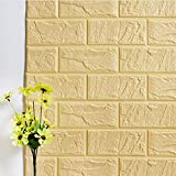 PE Foam 3D Wall Stickers Decorative Kitchen Bedroom Decor Wallpaper Children Living Room Decorative Brick Stickers (Beige, 70x30)