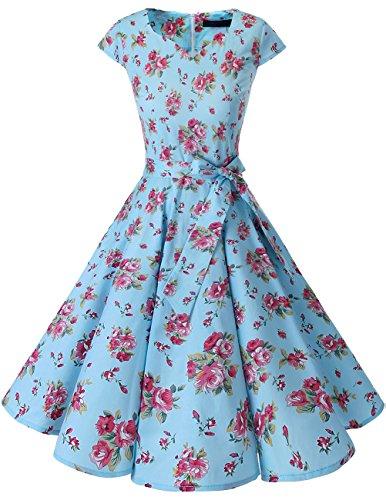 Dresstells Vintage 50er Swing Party kleider Cap Sleeves Rockabilly Retro Hepburn Cocktailkleider Small Blue Flower XS