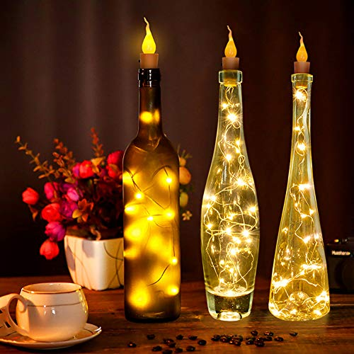 WEISY Außenleuchten String kerzenförmigen Kupferdraht mit Plastikflasche Kork Weihnachten Halloween Hochzeit Indoor Outdoor Dekoration